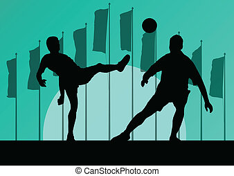 Soccer football players active sport silhouettes vector background illustration landscape with flag for poster