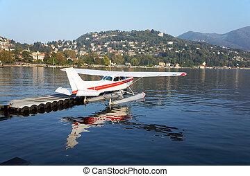 Seaplane - Parked seaplane, italian lake of Como, Italy,...