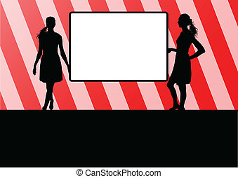 Woman hold blank board, empty banner vector background...