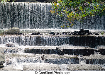 Waterfall with fish ladder