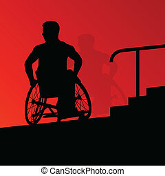 Active disabled young men on a wheelchair detailed health care stair steps concept silhouette illustration background vector