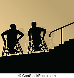 Active disabled young men on a wheelchair detailed health...