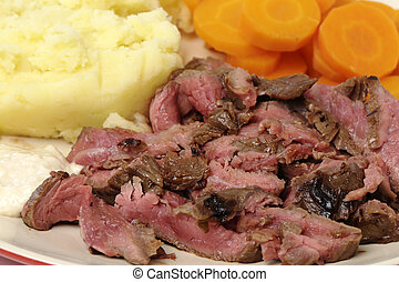 "London broil meal closeup - ""London broil"" marinaded flank..."