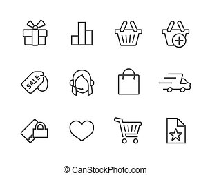 Thin line Shopping icons set - Thin line icons related to...