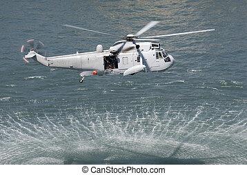 salvamento, helicóptero