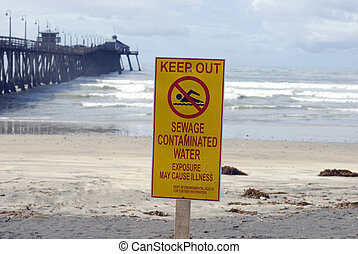 Polluted Water - A warning sign for polluted water, Imperial...