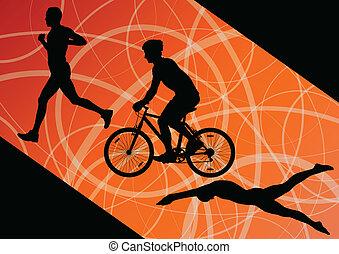 Triathlon, maratona, Ativo, jovem, homens,...