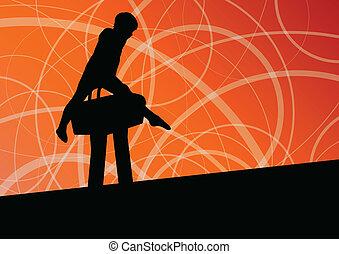 Active children sport silhouette on pommel horse vector...