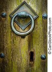 Ancient Church Door - Handle And Keyhole Of Closed And...