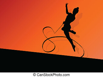 Teenager gymnastics with ribbon vector abstract background...