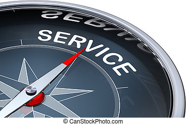 service - 3D rendering of a compass with a service icon