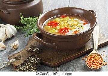 lentilha, sopa, legumes