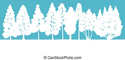 Ecology concept detailed forest tree illustration vector background card