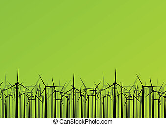 Colorful wind electricity generators and windmills detailed ecology electricity silhouettes illustration collection background vector