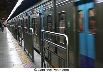Subway Train in Seuol Korea with train moving off