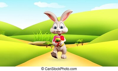 Bunny walking with color eggs - Illustration of Easter bunny...
