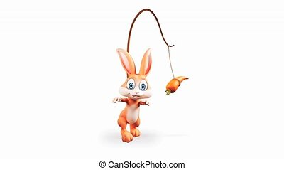 Bunny walking with carrot - Happy Easter brown bunny walking...