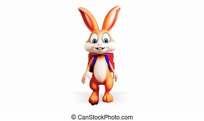 Bunny walking with school bag - Happy brown bunny going to...