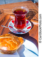 Turkish Cay tea - Traditional turkish Cay tea served in the...