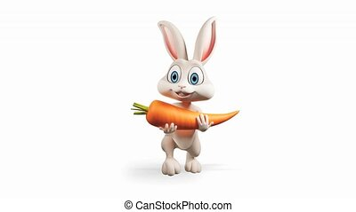 Bunny walking with carrot - Happy Easter gray bunny walking...