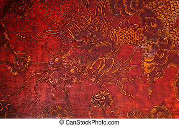 Ancient vitage dragon painting - Ancient vintage golden...
