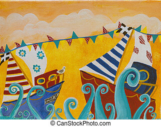 Original painting of boats and bunting painted in Naive...