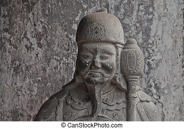 Chinese ancient warrior stone statue