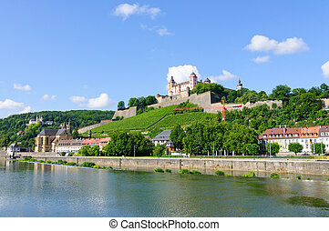 Wurzburg, Germany - The Marienberg fortress and the Main...