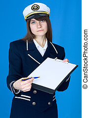 Woman in sea uniform with tablet
