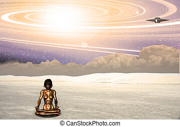Alien World - Alien ship and meditating android
