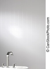 white wall tile with faucet and sink