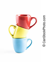Colore Mugs - Color coffee mugs pile isolated on white...