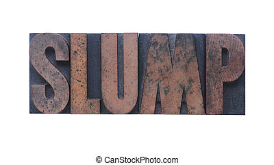 slump - the word \'slump\' in old ink-stained wood type