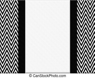 Black and White Chevron Frame with Ribbon Background