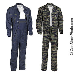 Male work wear - blue and camouflage suits