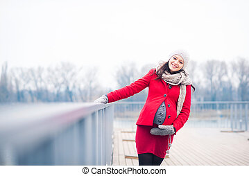 Winter portrait of beautiful pregnant woman - Winter outdoor...