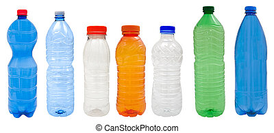 Plastic bottles - Multicolored Plastic bottles isolated on...