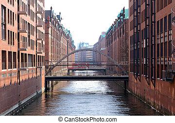 Speicherstadt Hamburg - Historic harbor storage buildings in...