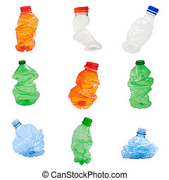 Plastic bottles isolated on white background, recycle...