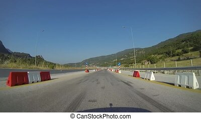 Highway Maintenance Works In Greece - Driving On A Highway...
