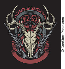 Deer Skull With Rifle - editable vector illustration of deer...
