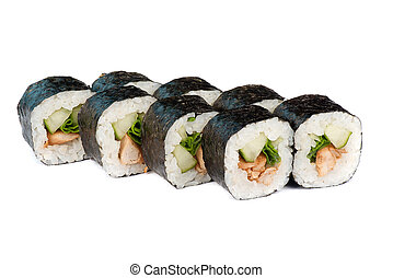sushi rolls - sushi fresh roll with cucumber, chicken and...
