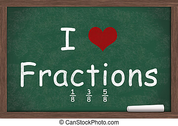 I love Fractions, I heart fractions with examples written on...