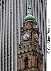 Old Victorian clock tower in Sydney Central Business...