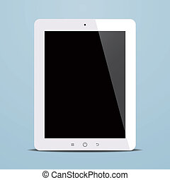 tablet computer with black screen on blue background