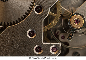Pocket watch mechanism close up - Macro close up of vintage...