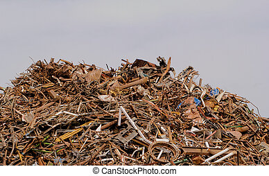 scrap metal processing industry, stacked metal