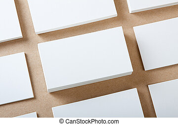 Blank business cards crafts background