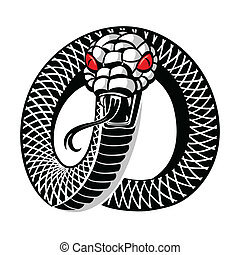 Snake tattoo - Angry snake round tattoo isolated