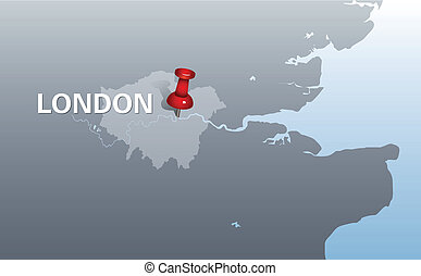 outline map of London with red pin - outline map of London...